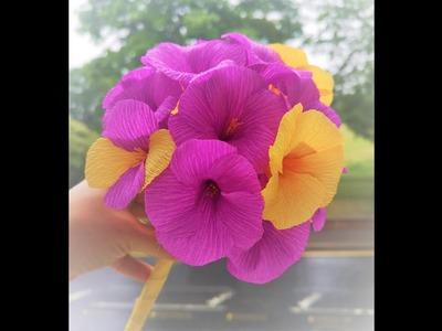 How to make Allamanda Crepe Paper Flower Tutorial - DIY Easy Crepe Paper Flower
