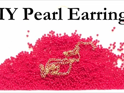 How To Make Long Earrings With Pearls - DIY Crafts Tutorial - Handmade Red Pearl & Chain Earrings
