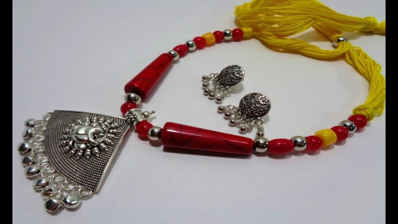 Making Beautiful Chemical Beads Necklace - DIY German Silver Necklace & Ear tops Making Idea