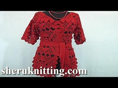 Red Crochet Cradigan Tutorial 30 Part 1 of 2