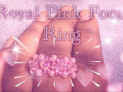 Royal Pink Focal Seed Bead Ring   RAW + Herringbone Stitch   DIY + Tutorial