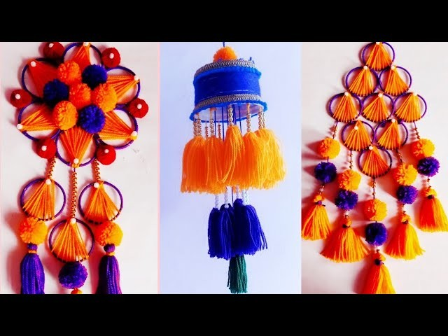 3 Beautiful wall hanging ideas \ room decor idea \ easy woolen craft \