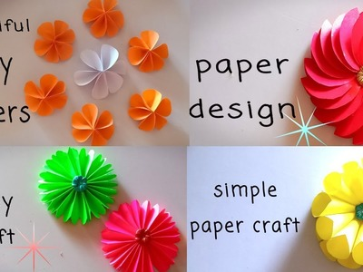 4 easy paper flowers | flower making | diy paper craft