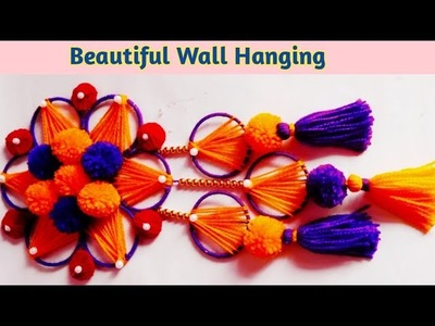 AMAZING  Wall hanging ideas \ woolen wall hanging craft ideas \ wall hanging  from waste  bangles \