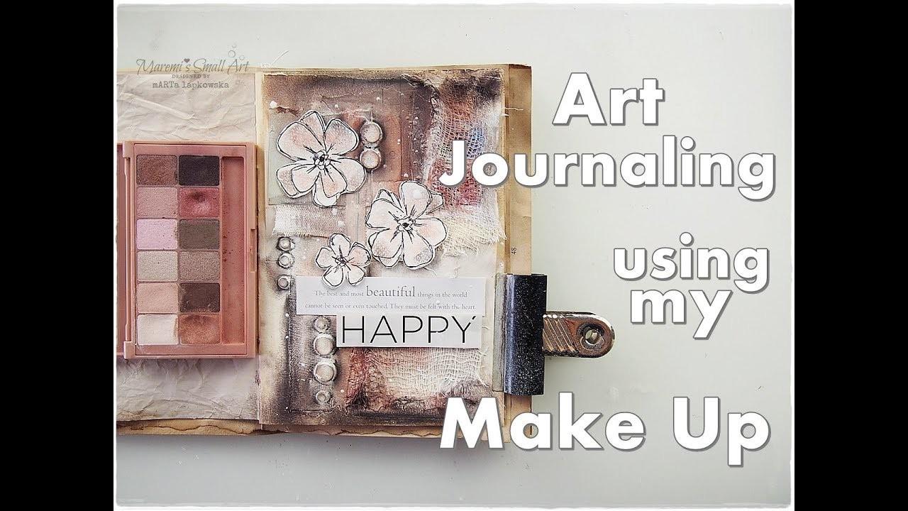Art Journaling using my Make Up ♡ No Art Supplies ♡ No Cost Craft ♡ Maremi's Small Art ♡