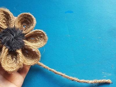 BEAUTIFUL DIY JUTE ROPE FLOWER    JUTE FLOWER MAKING TUTORIAL    JUTE CRAFT