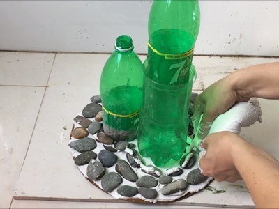 Craft ideas of white cement and stone.flower pot making at home