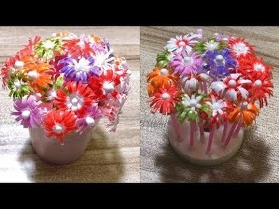 DIY Drinking Straw Flower Craft Idea - New Decoration Ideas