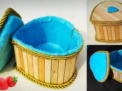 DIY, Heart Shape Gift Box, diy Craft, Jewelry Box, Popsicle Stick Crafts, Icecream stick crafts
