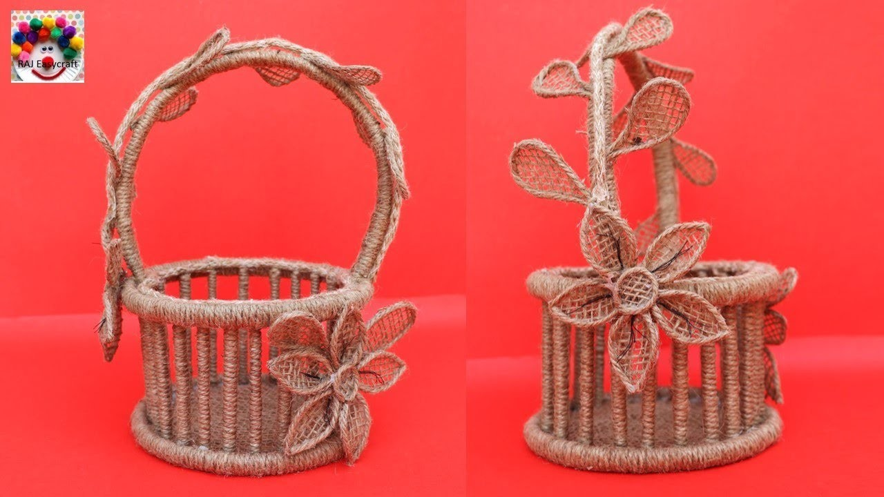 DIY Jute and Newspaper Flower Basket || Jute new craft idea || art and craft
