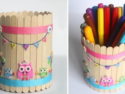 DIY Pen Stand | Ice cream Stick Craft | Popsicle Stick DIY Craft | Cute Owl Pen Stand
