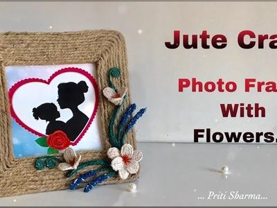 DIY : Photo Frame With Jute Rope & Cardboard. Jute Photo Frame Craft | Priti Sharma
