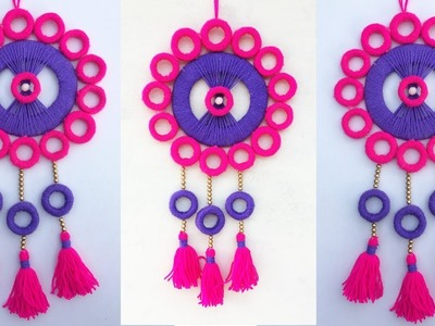 DIY ROOM DECOR. Wall Hanging Craft Ideas. Wall Decor. Woolen craft. Best out of waste