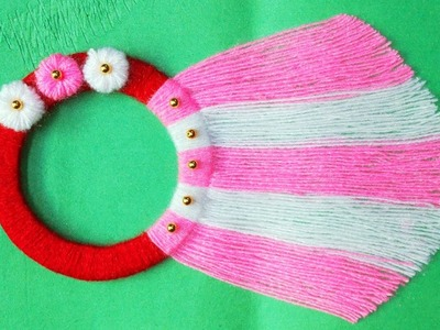 EASY WOOLEN WALL HANGING.BEST OUT OF WASTE AND WOOL CRAFT IDEA.TORAN