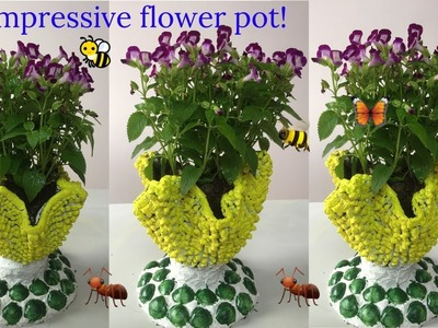 Great Idea Cement Craft  - Turn rags into beautiful flower pots