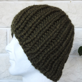 Hand Knitted Men's Khaki Green Coloured Winter Hat - Free Shipping