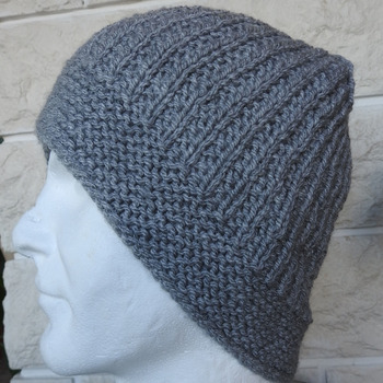 Hand Knitted Men's Light Grey Winter Hat - Free Shipping