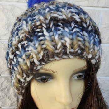 Hand Knitted Women's Blue, Brown And Cream Random Winter Hat With A Blue Pom Pom - Free Shipping