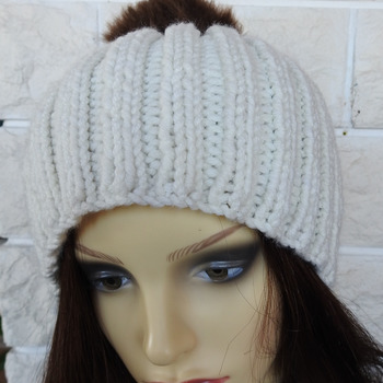 Hand Knitted Women's Cream Ribbed Winter Hat With A Brown Pom Pom - Free Shipping