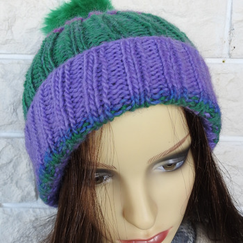 Hand Knitted Women's Purple And Green Two Style Winter Hat With A Green Pom Pom - Free Shipping