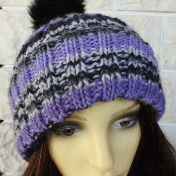 Hand Knitted Women's Two Style Purple, Grey, Black Random Winter Hat & Black Pom Pom - Free Shipping