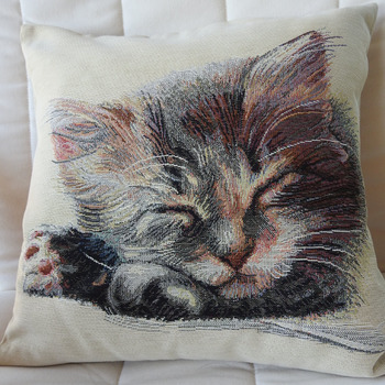 Handmade Cat Fast Asleep Tapestry Cushion Cover - Free Shipping