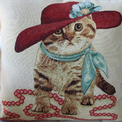 Handmade Cat In A Hat Tapestry Cushion Cover - Free Shipping