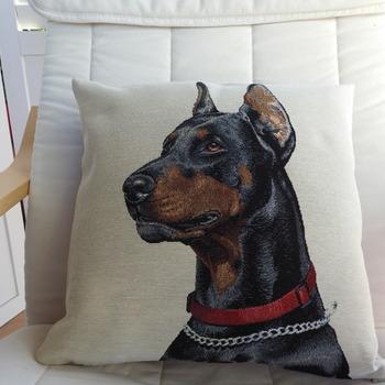Handmade Doberman Pinscher Tapestry Cushion Cover - Free Shipping