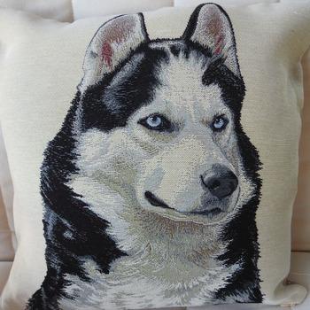 Handmade Husky Dog Tapestry Cushion Cover - Free Shipping