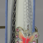 Handmade Pink Butterfly Charm On A Swirl Styled Bookmark In A Box - FREE SHIPPING