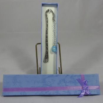 Handmade Swirls Bookmark With A Blue Bauble In A Box - FREE SHIPPING