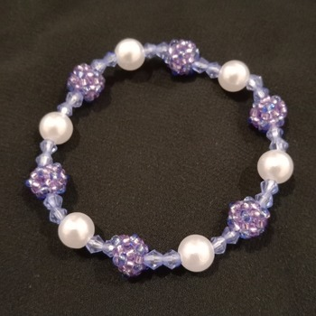 Handmade White Pearl Beaded Ball Bracelet