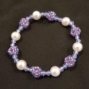 Handmade White Pearl Beaded Ball Bracelet