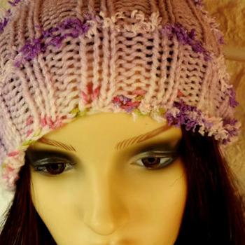 Handmade Woman's Lilac Multicoloured Pom Pom Hat - Free Shipping
