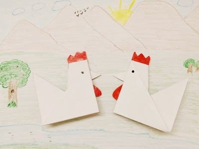 How to make a paper rooster  - Craft for Children - DIY for Kids