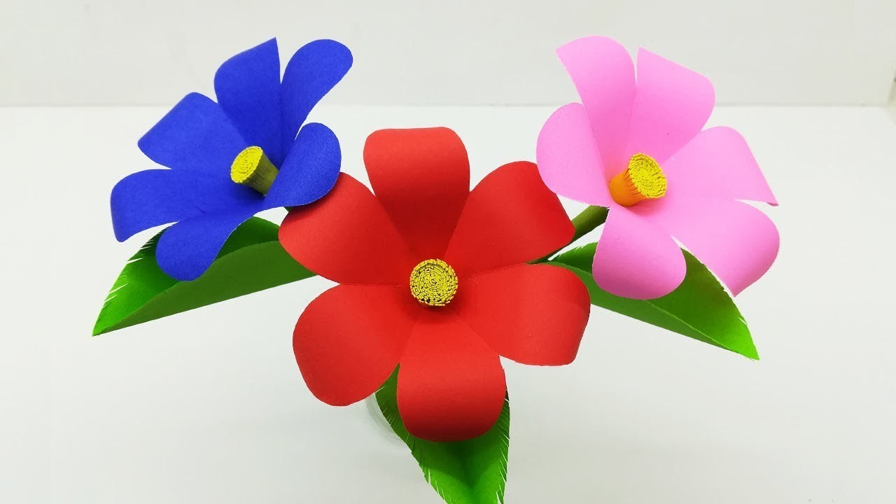 How To Make Flower With Color Paper   DIY Paper Flower Craft