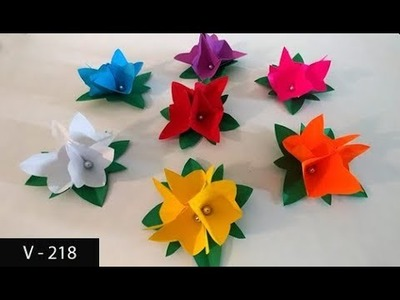 How to Make Paper Flowers for Birthday Card | Easy Flower Craft to Decorate Birth Day Gift Box