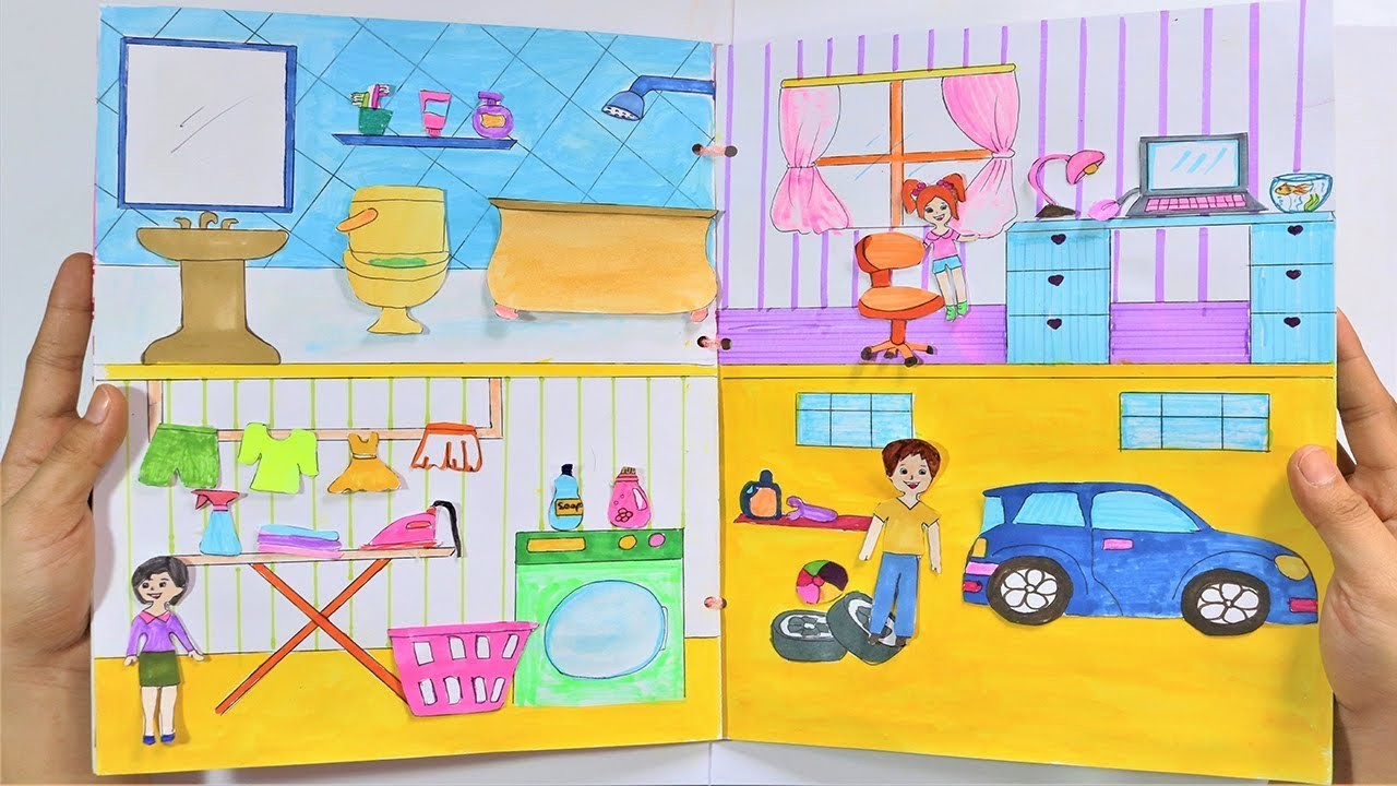 HOW TO MAKE QUIET BOOK HOUSE PAPER - PAPER CRAFT FOR KIDS