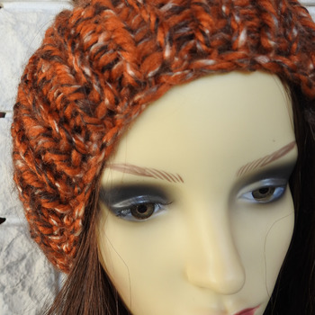 Knitted Random Orange And Brown Women's Hat With A Dark Brown Pom Pom - Free Shipping