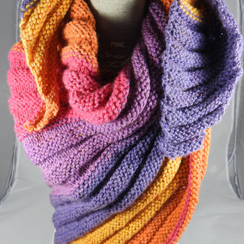 Knitted Women's Multicoloured Ribbed Winter Shawl - FREE SHIPPING