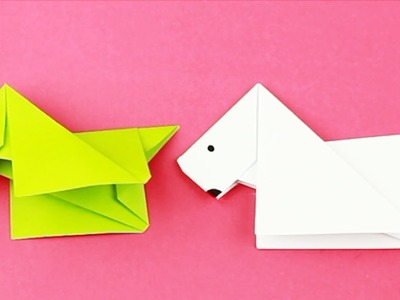 [NO GLUE Paper crafts] DIY How to Make An Easy Paper DOG. Origami Tutorial for Kids and Beginners