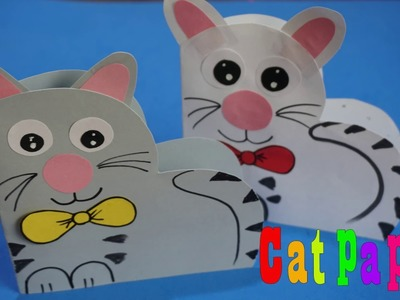 Paper Cat Craft step by step tutorial for kids