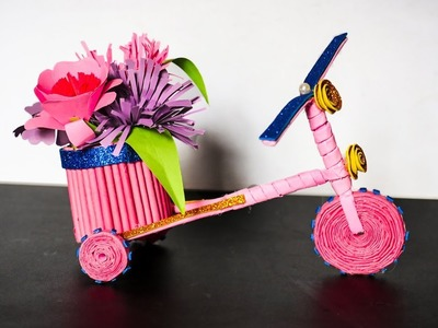Paper Cycle Pen Stand | paper craft idea | waste material craft