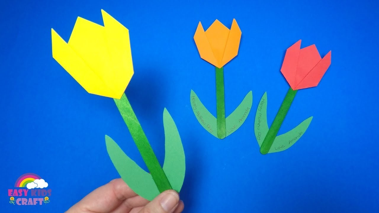 Paper Tulip Craft for Mothers Day | Easy Paper Tulip Craft
