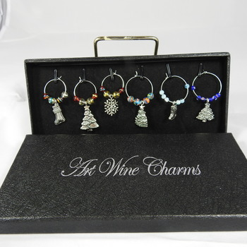 Set Of Six Christmas Themed Wine Glass Charms In A Gift Box - FREE SHIPPING
