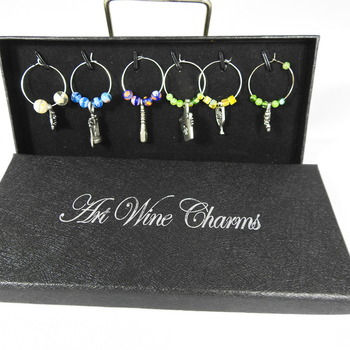 Set Of Six Drinking Themed Wine Glass Charms In A Box - FREE SHIPPING