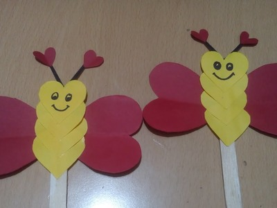 Summer craft for kids.origami paper butterfly using ice-cream sticks.preschool crafts