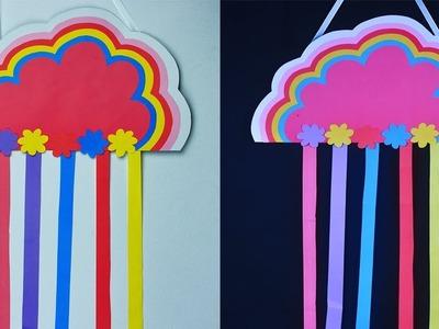 Very Easy Kids Craft   DIY Paper Raining Cloud Wall Hanging   DIY Paper Rainbow