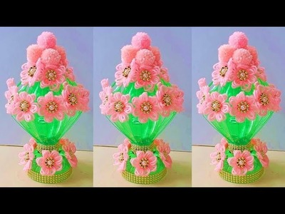 WOOLEN GULDASTA.DIY WOOL AND BOTTLE GULDASTA.PLASTIC BOTTLE VASE CRAFT IDEA.REUSE PLASTIC BOTTLE 705