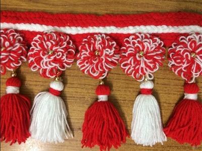 Woollen Craft Idea   Easy Flower Door Toran Making   DIY